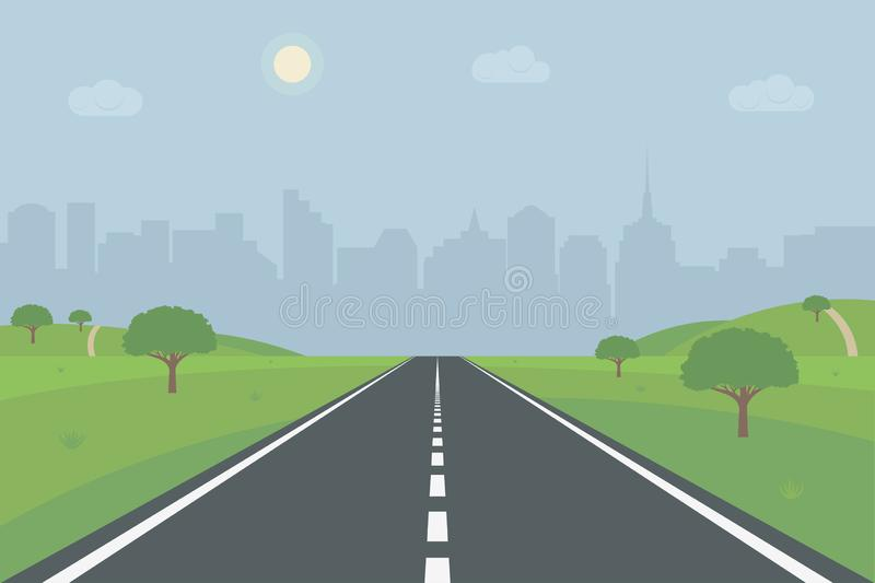 Road to city. Empty straight road through the hills, trees and meadow towards skyscrapers and buildings. Way to the city. Vector vector illustration