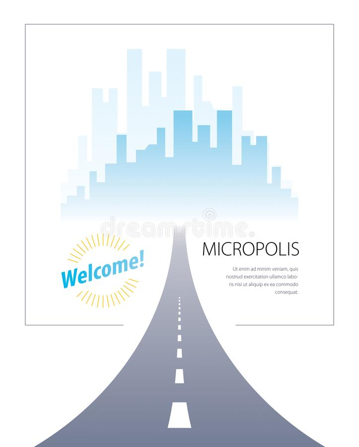 Road to city highway vector perfect design illustration. Big skyscrapers way to the capital, tourism and travel theme. Can be used. As a road banner or vector illustration