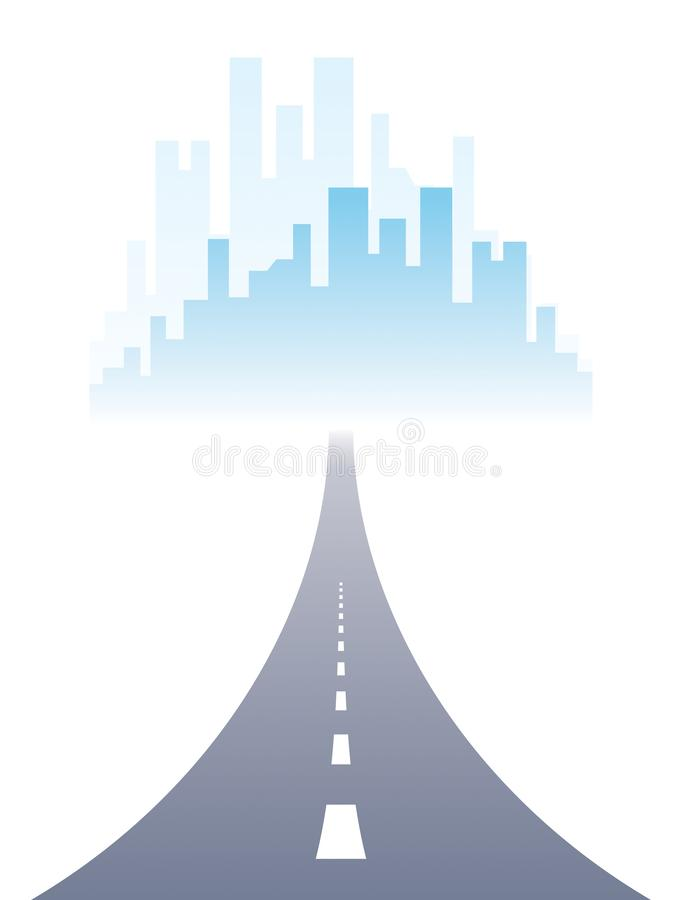 RRoad to city highway vector perfect design illustration. Big skyscrapers way to the capital, tourism and travel theme. Can be. Road to city highway vector stock illustration