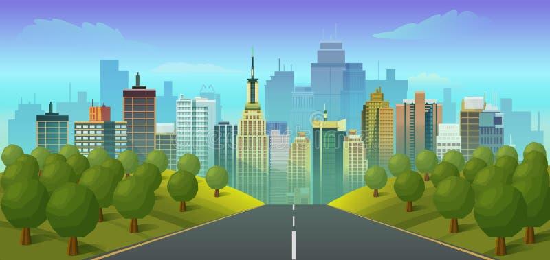 Road to city landscape vector illustration