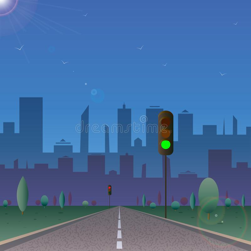 Road to the city with traffic lights. sunny day. 10 eps stock illustration