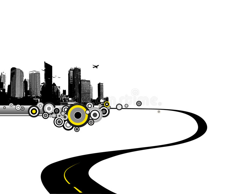 Road to city. Vector art stock illustration