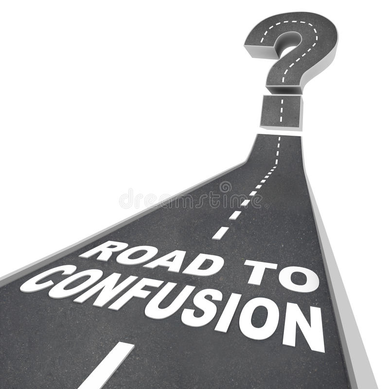 Road To Confusion - Words On Street Royalty Free Stock Image
