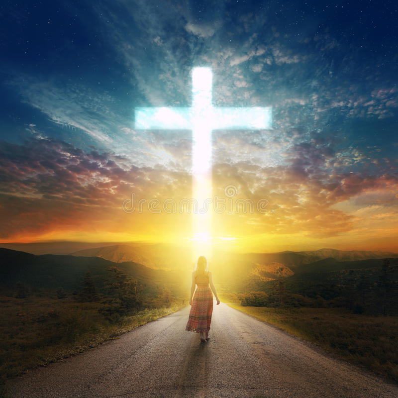 Road to the cross royalty free stock photo