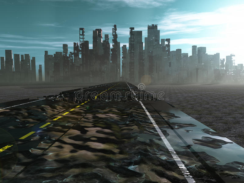 Road to dead city. Road to a dead city vector illustration