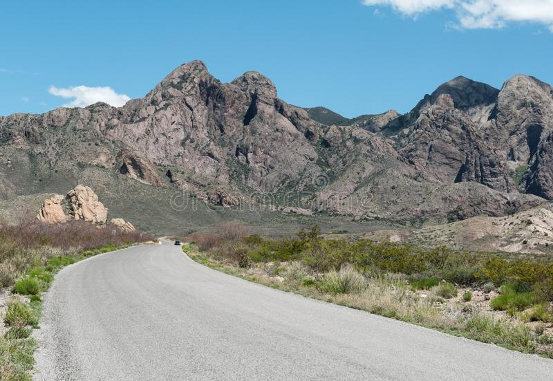 The road to Dripping Springs in New Mexico. Road to the Organ Mountains and Dripping Springs Natural Area, southern New Mexico royalty free stock photos