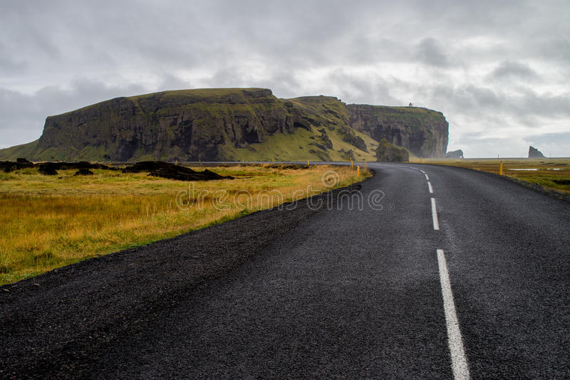 Road to dyrholaey. In Iceland royalty free stock images