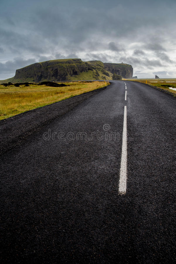 Road to dyrholaey. In Iceland royalty free stock image