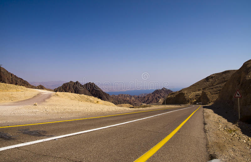 Road to Eilat. From the west. Eilat mountais and the Aqaba gulf royalty free stock photography