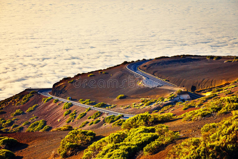 Road to El Teide Volcano at sunset in Tenerife stock photos