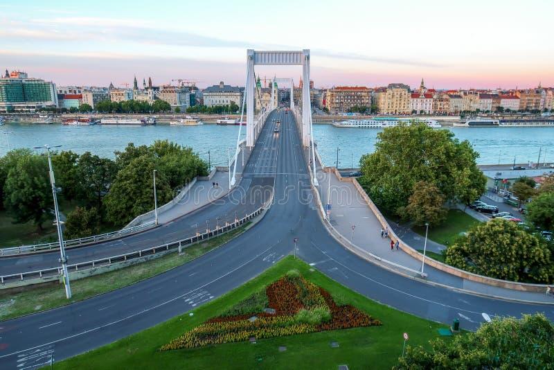 Road to Elizabeth Bridge in Budapest Hungary stock photography