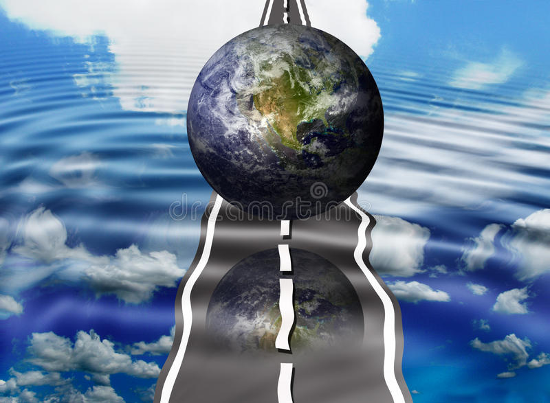 Road to the future. Planet earth on the road to the future concept royalty free illustration