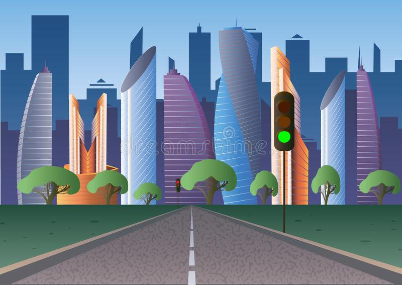 Road to the Futuristic city of the future with traffic lights. 10 eps vector illustration