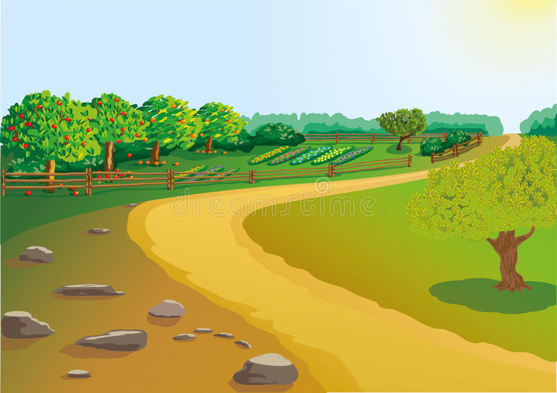 Download The road to the garden stock vector. Image of trail, environment - 23412472