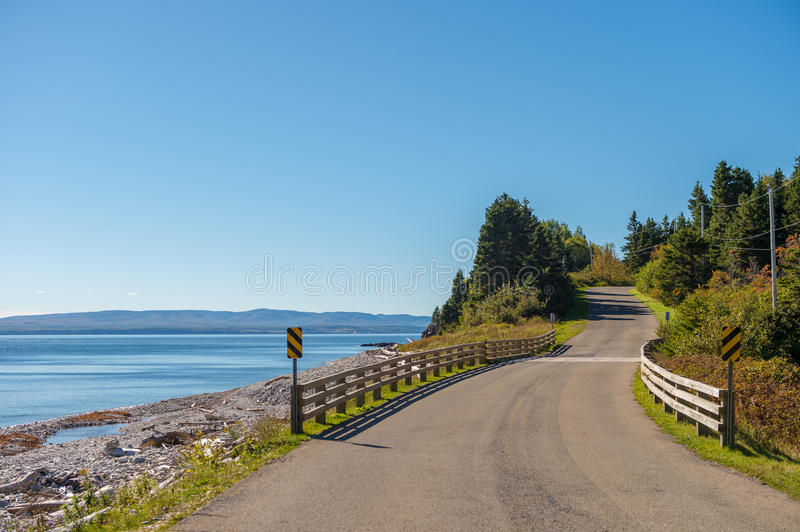 Road to Gaspe beach in Forillon National Park. Gaspe Peninsula, Quebec, Canada stock images