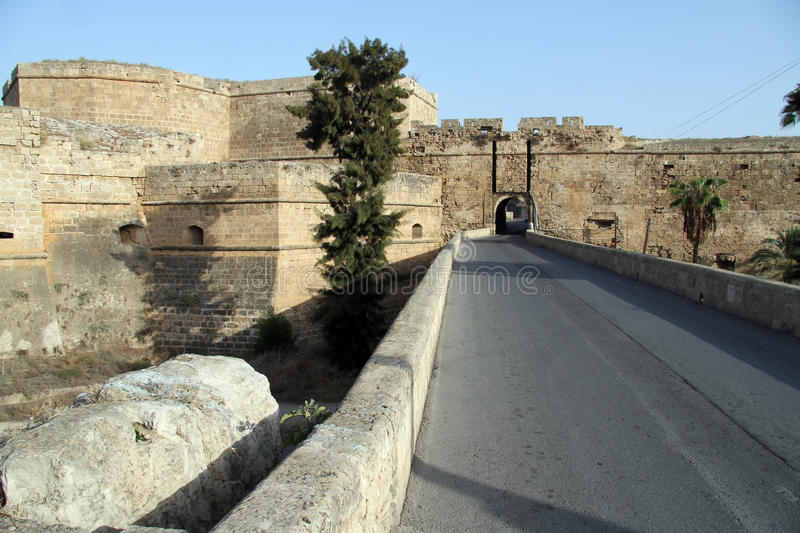 City wall. Road to the gate of city wall in Gazimagusta, North Cyprus stock photos