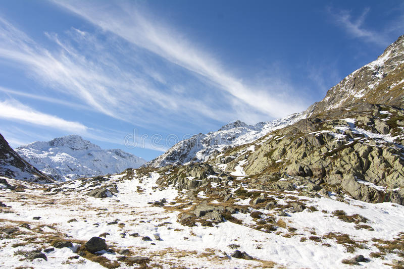 Road to Grand Saint Bernard pass in winter. The Grand Saint Bernard pass (2469) is the most famous pass of the Western European Alps, between the canton of royalty free stock image