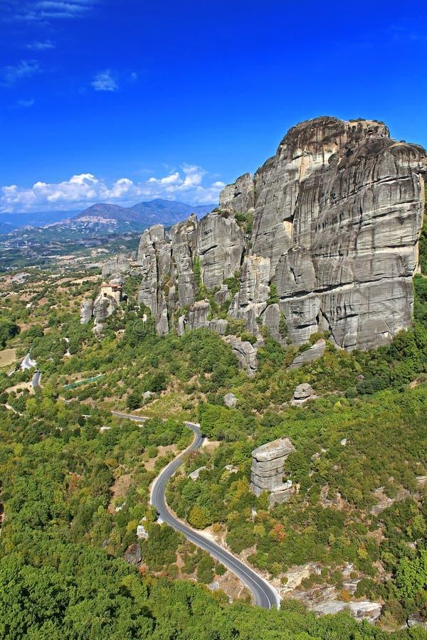 Road to hanging monastery at Meteora, Greece royalty free stock image