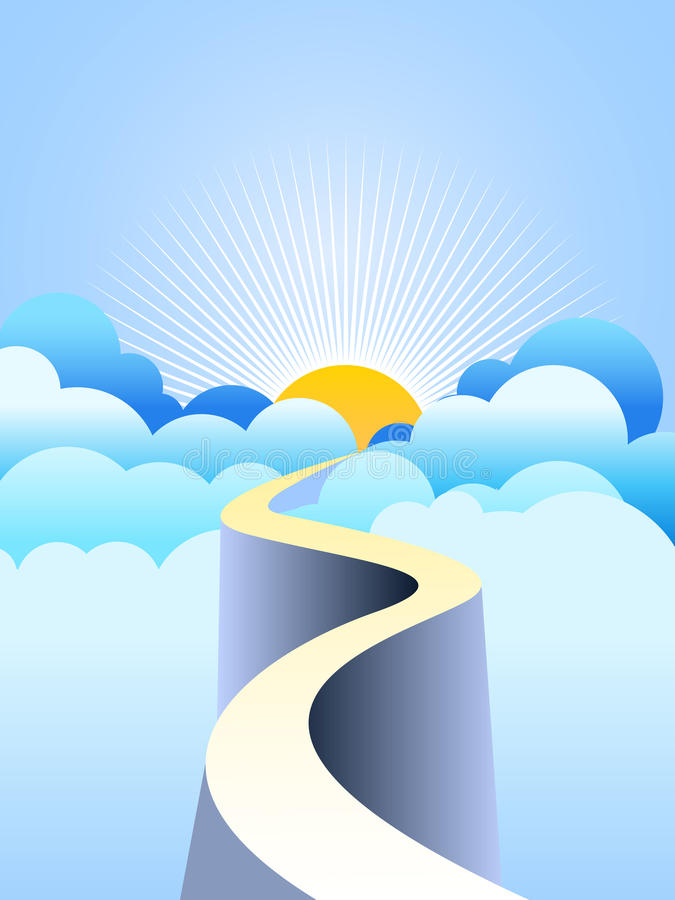 Road to heaven. Vector illustration of a road climbing the clouds reaching the eternal light of heaven, or leading to a better future