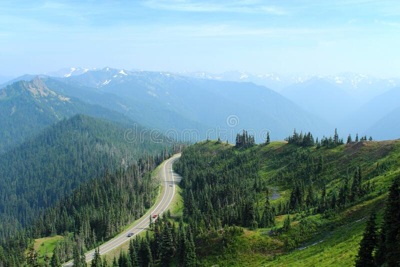 Road to Hurricane Ridge, Olympic National Park, Washington State, Pacific Northwest, Estados Unidos da América fotografia de stock royalty free
