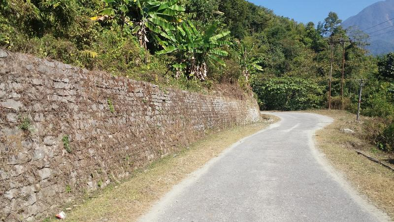 The road to Indo-China Border. Mountain, trees royalty free stock photos