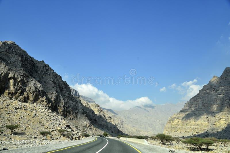 Road to Jais Mountains, Jebel Jais, Ras Al Khaimah, United Arab Emirates.  royalty free stock photography
