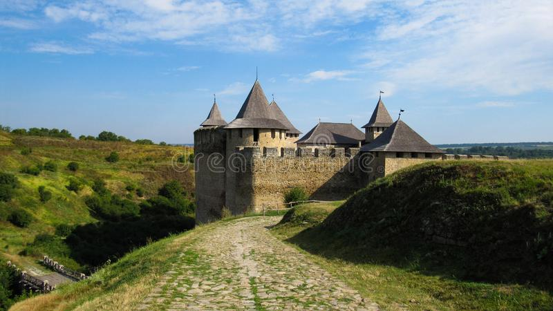 Road to Khotyn fortress fortification complex located on the right bank of the Dniester River in Khotyn, Chernivtsi Oblast provi stock photo