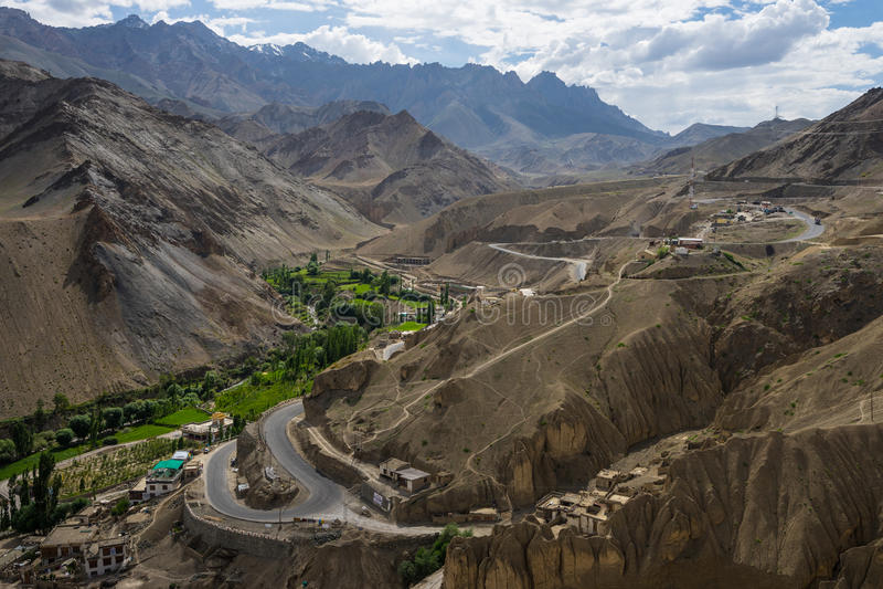 Road to Lamayuru moonland in summer, Leh, Ladakh, India stock image
