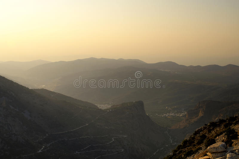 Road to Lassithi plateau at. The evening, Crete. Greece royalty free stock photos