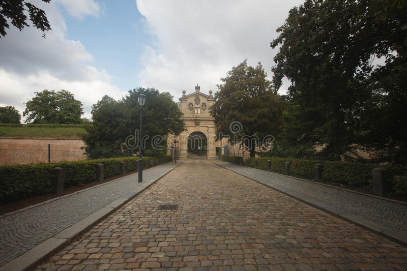 The road to the Leopold Gate, the entrance to the fortress Vysehrad, Prague stock photos