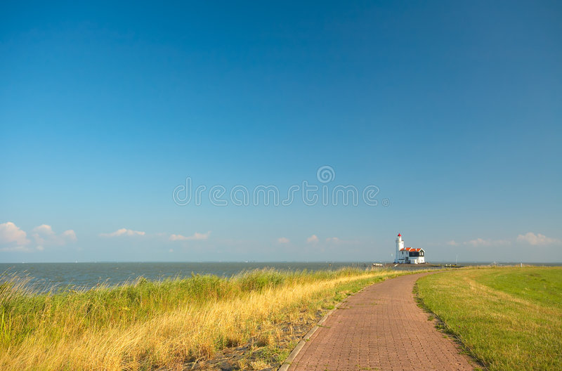 Road to lighthouse royalty free stock images