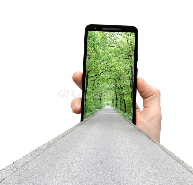 Road to mobile app development into a smart phone royalty free stock photos