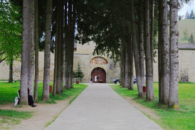 Road to monastery Sucevita romania bucovina stock photography