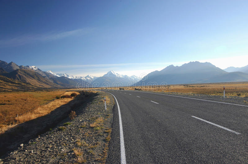 Download A Road to Mount Cook stock photo. Image of drive, cloud - 19499744