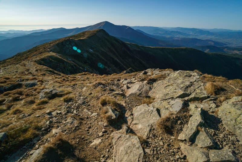 The road to Mount Hoverla of the Ukrainian Carpathian Mountains, Chornohora stock image