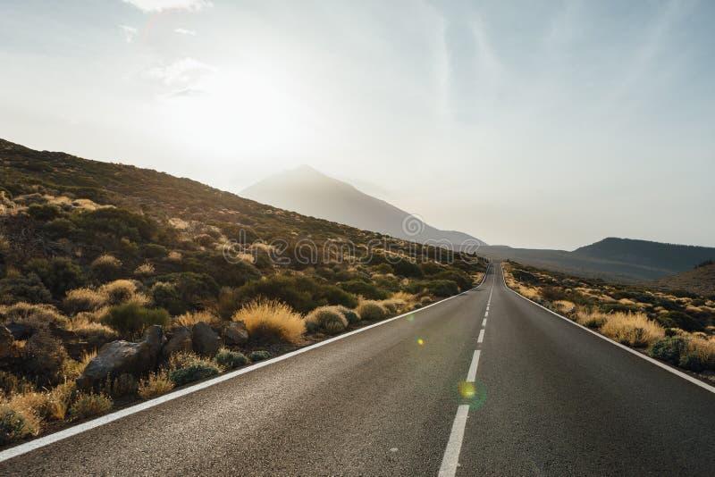 road to the Mount Teide volcano in Tenerife stock image