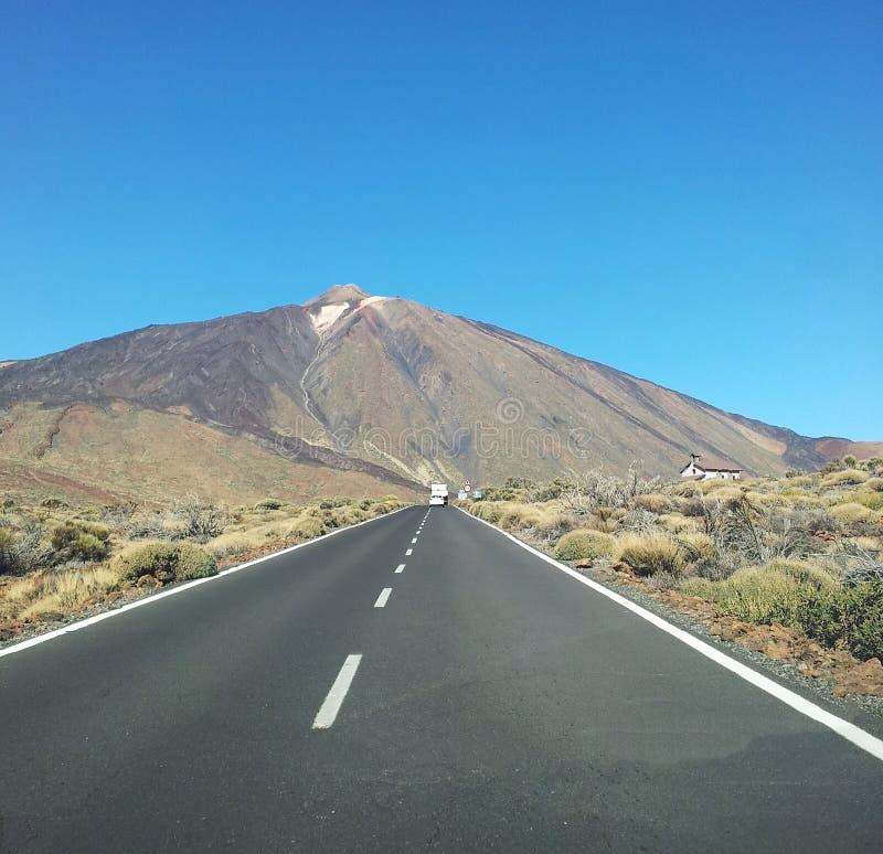 Road to the mountain El Teide royalty free stock photos