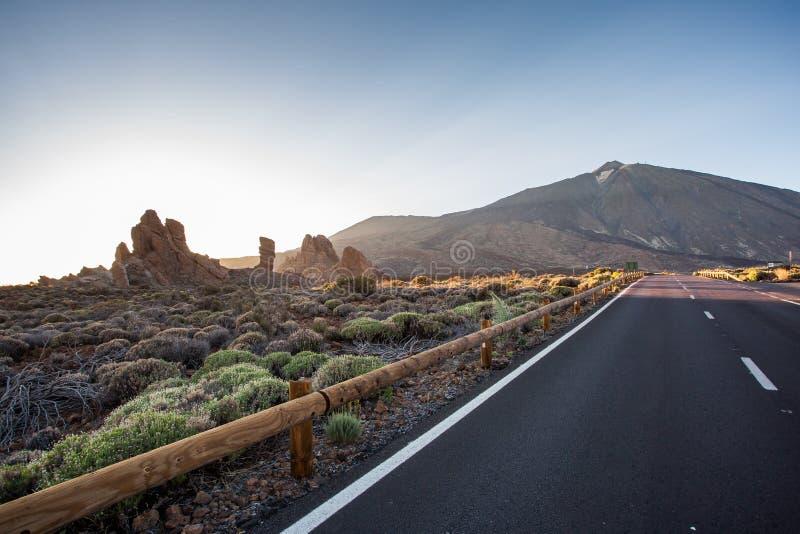 Road to the mountain El Teide,Tenerife stock photo