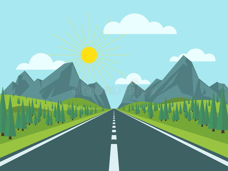 Road to mountains vector illustration