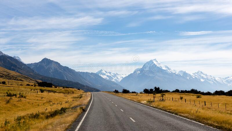 Road to Mt Cook stock images
