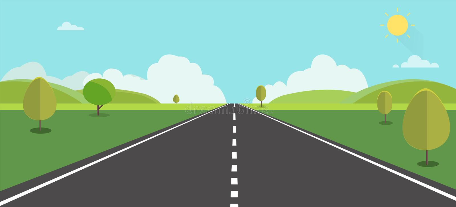Road to nature backgroud vector illustration.Street with field , hills , clouds , trees and sun royalty free illustration
