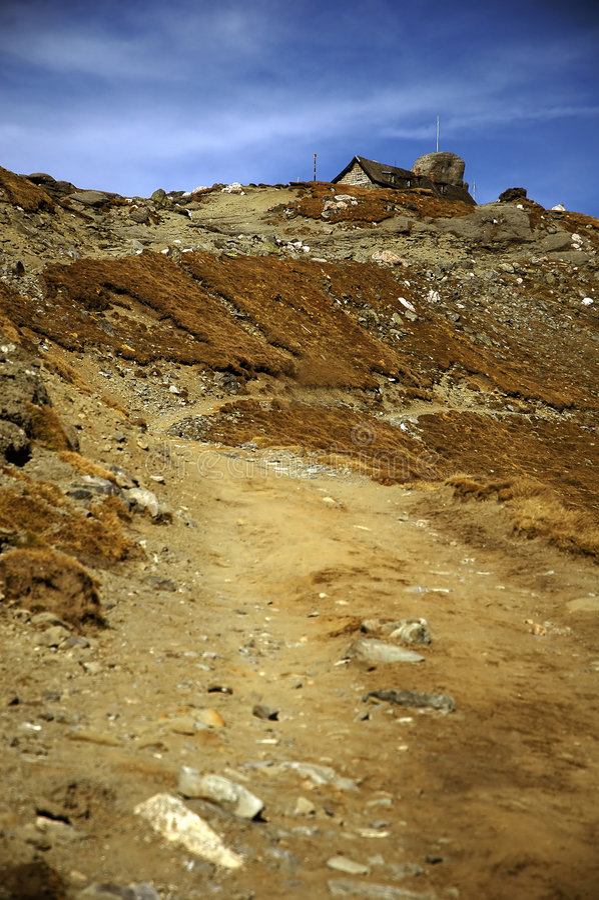 Road to Omu shelter. From Bucegi mountains Romania stock photo