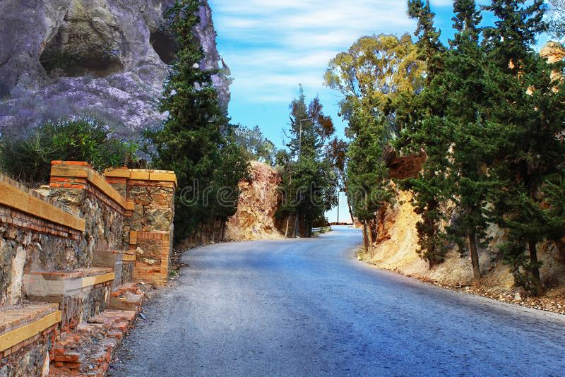 The road to the park in the mountains of Murcia stock photos