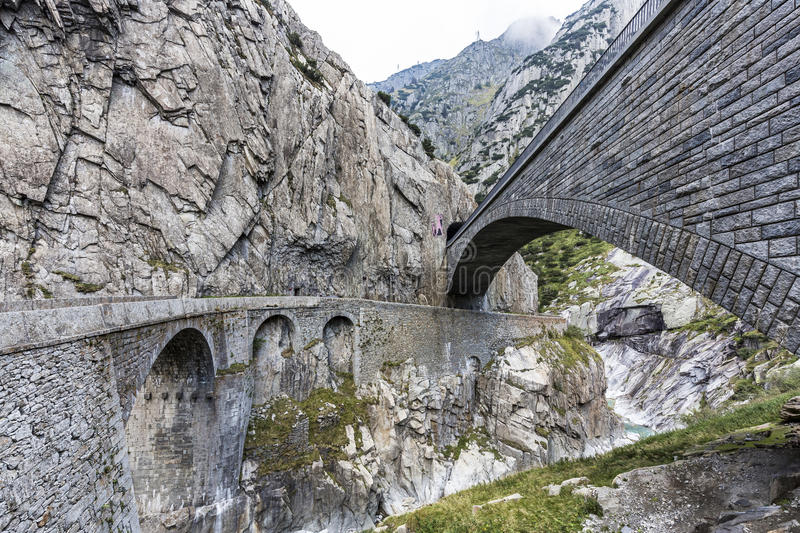 Road to pass Gotthard stock images