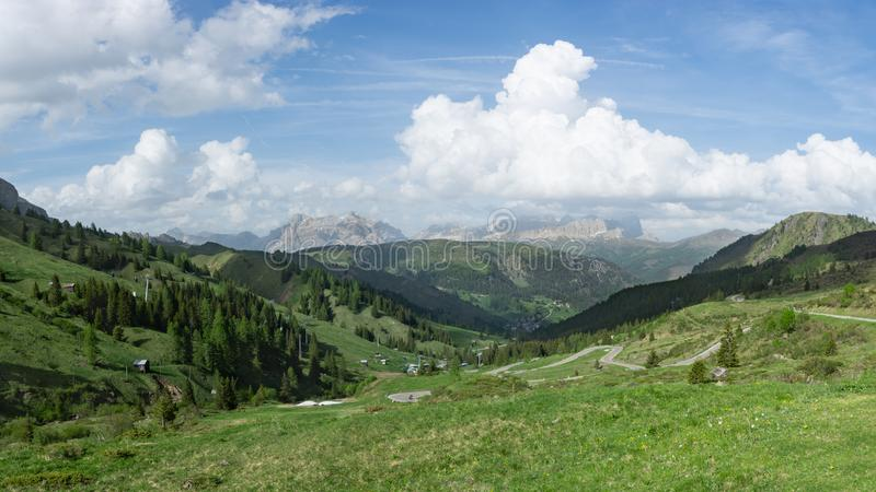 Beautiful panoramic view at Dolomites and Arabba village. Sudtyrol, Italy stock photography
