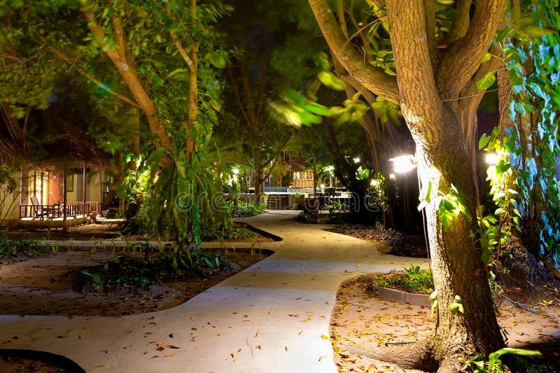 The road to the pool at night. Along the bungalows and lots of landscaping royalty free stock image