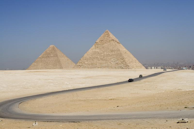 Road to the pyramids royalty free stock photo