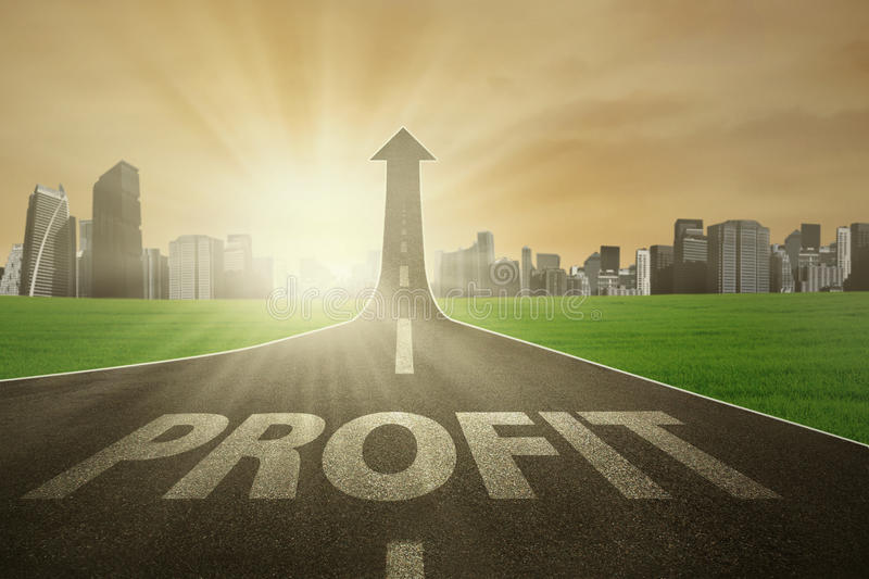The road to raise profit. Road with Profit word, turning into arrow upward symbolizing the path to increase profit vector illustration