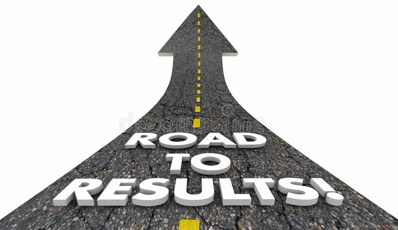 Road to Results Outcome Effective Work Project Road 3d Illustration stock illustration