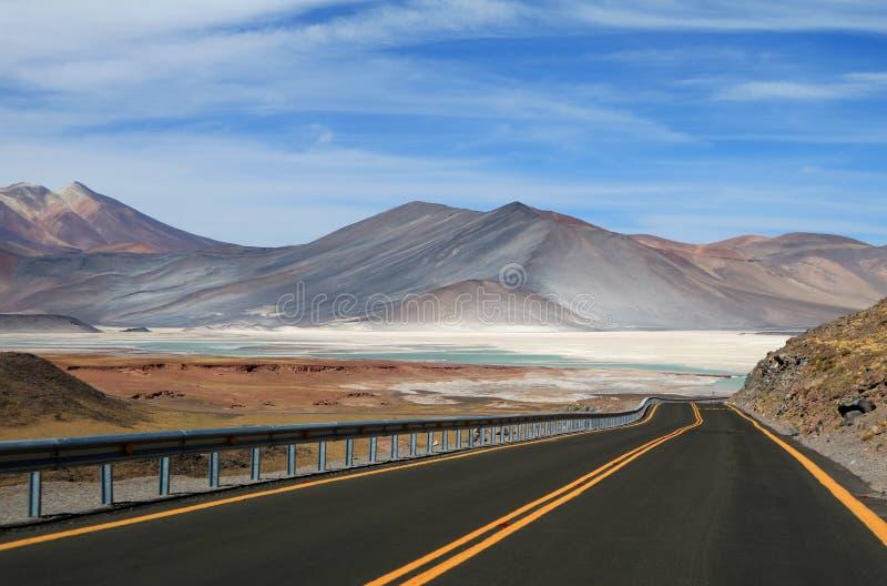 The road to Salar de Talar, beautiful highland salt flats and salt lakes in Chile stock photography